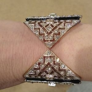 Cuff bracelet, Black and silver with fake diamonds